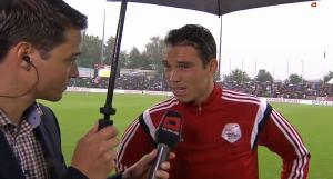 Schiedsrichter Sandro Schärer im Interview für Teleclub Sport. Am Sonntag, 3. August 2014 musste das Spiel zwischen dem FC Aarau und dem FC Vaduz abgebrochen werden.