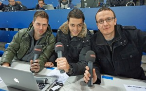 Mit Stephan Gutknecht und Pascal Flury beim Champions League-Spiel gegen Real Madrid im St. Jakob Park. 26.11.2014