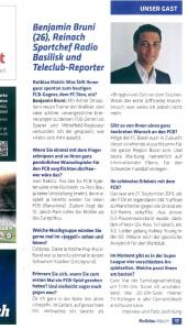 """Interview im FC Basel-Magazin """"Rotblau Match"""" für das Spiel vom 25. Oktober 2014 gegen den FC Sion im St. Jakob Park in Basel."""
