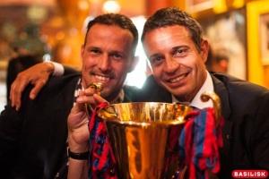Captain Marco Streller und Präsident Bernhard Heusler an der Meisterfeier in Basel